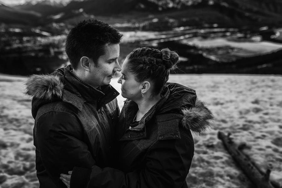 banff springs engagement photos cute couple black white