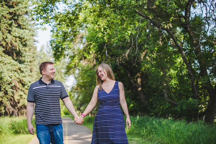 calgary engagement session fish creek park striped dress summer