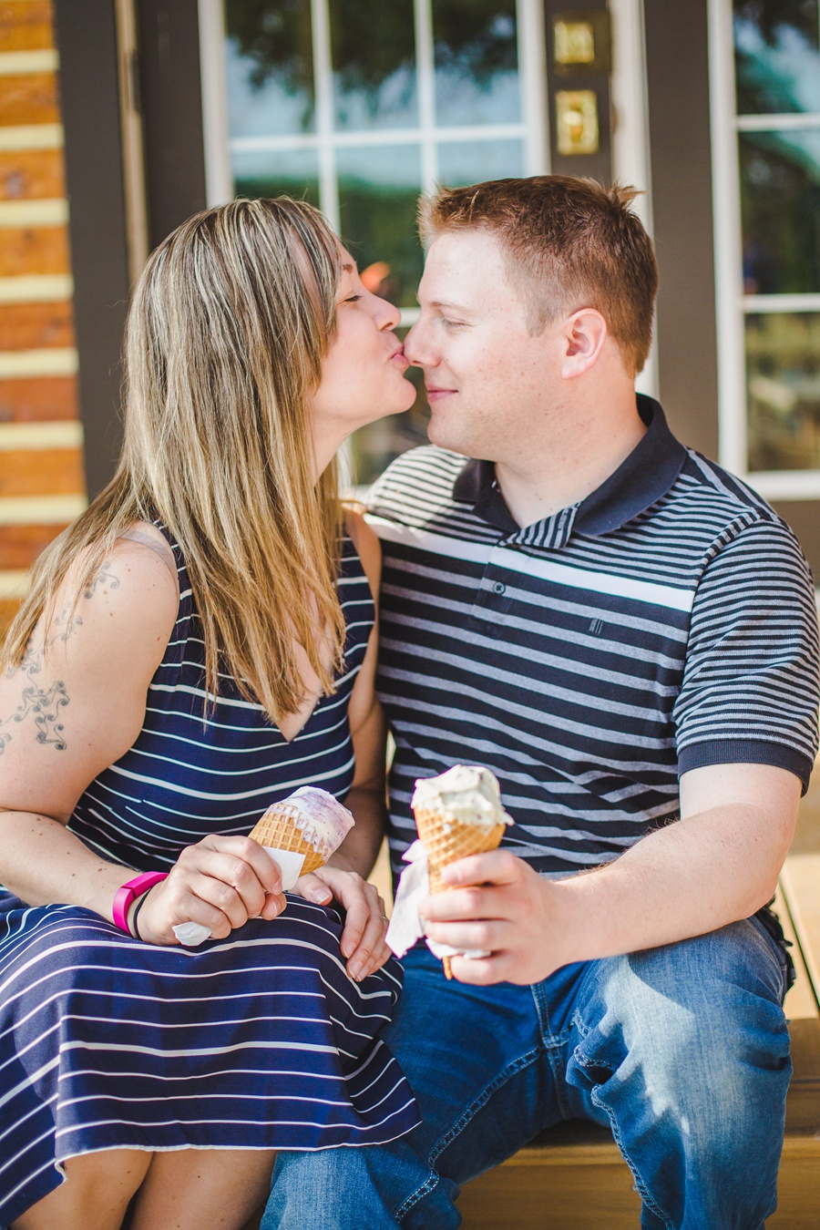 annie's cafe ice cream couple calgary engagement session fish creek park