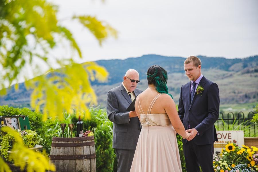 burrowing owl estate winery wedding groom purple shirt