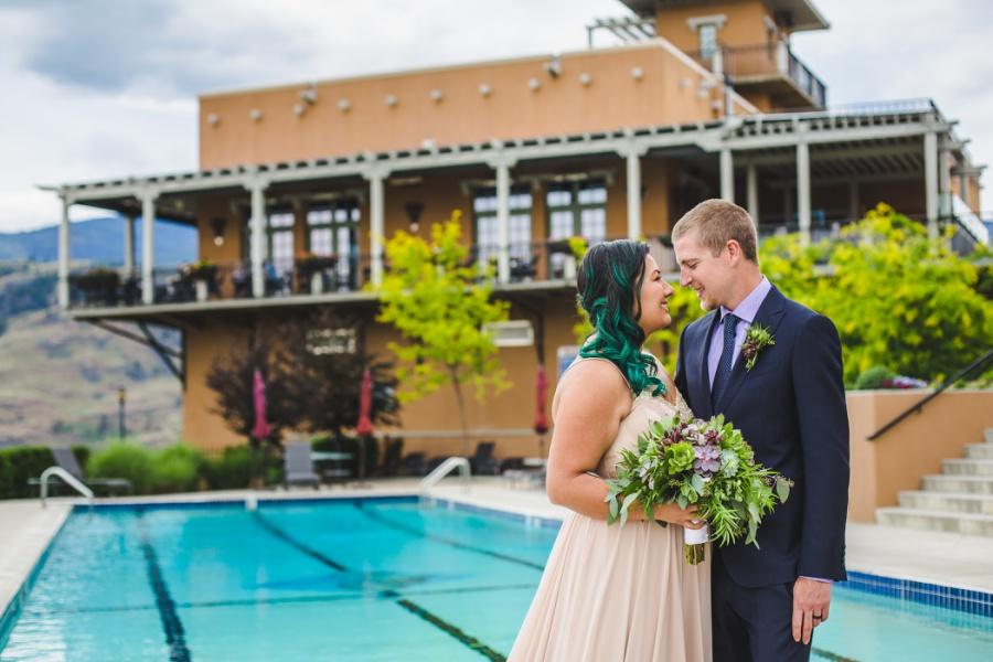 burrowing owl estate winery wedding bride groom kiss
