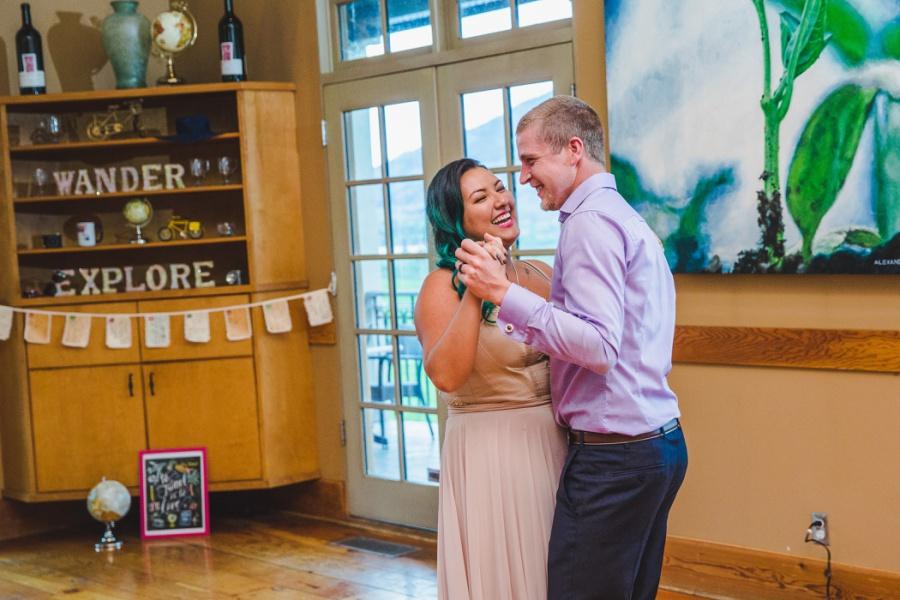 burrowing owl estate winery wedding bride groom dance laughing
