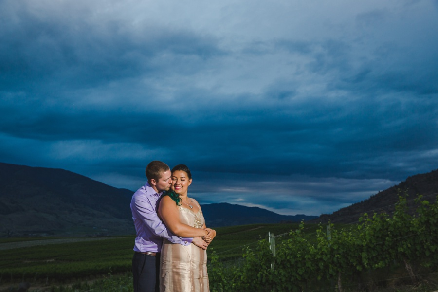 burrowing owl estate winery wedding kiss twilight sunset