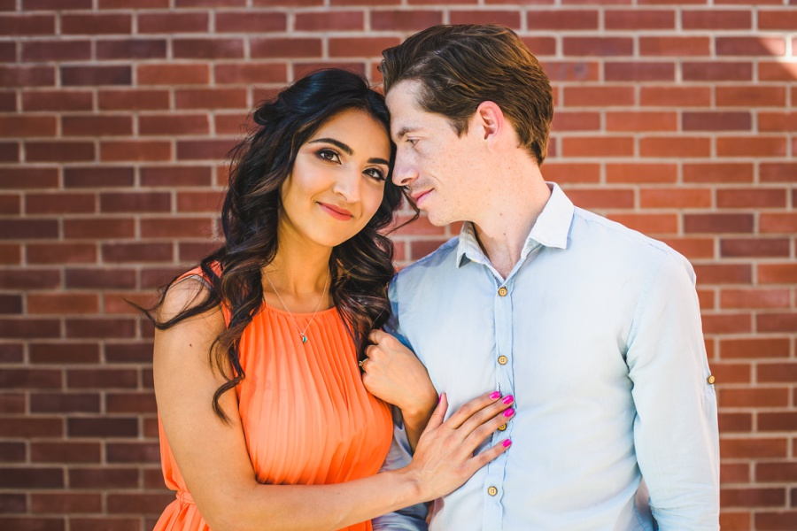 mill street brewpub calgary engagement photos orange dress