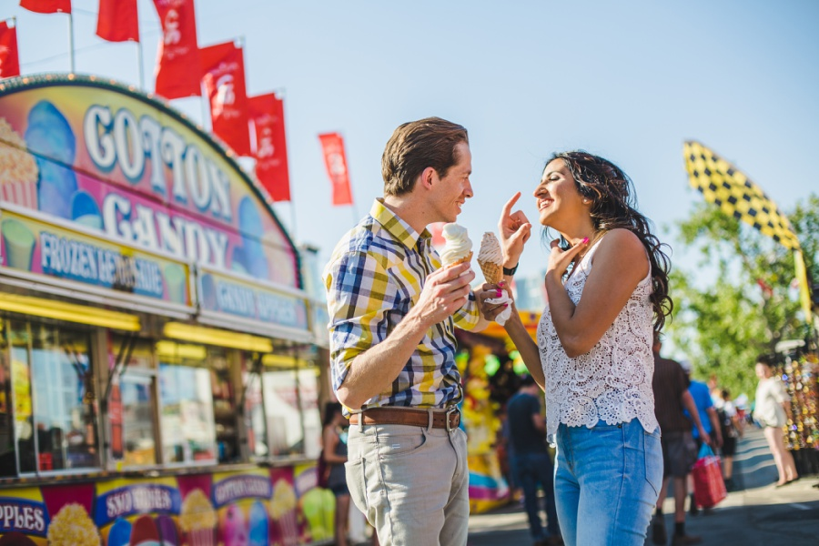 calgary stampede engagement photos midway food carnival ice cream