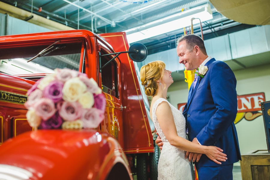 st. martin's church heritage park wedding calgary gasoline alley red truck