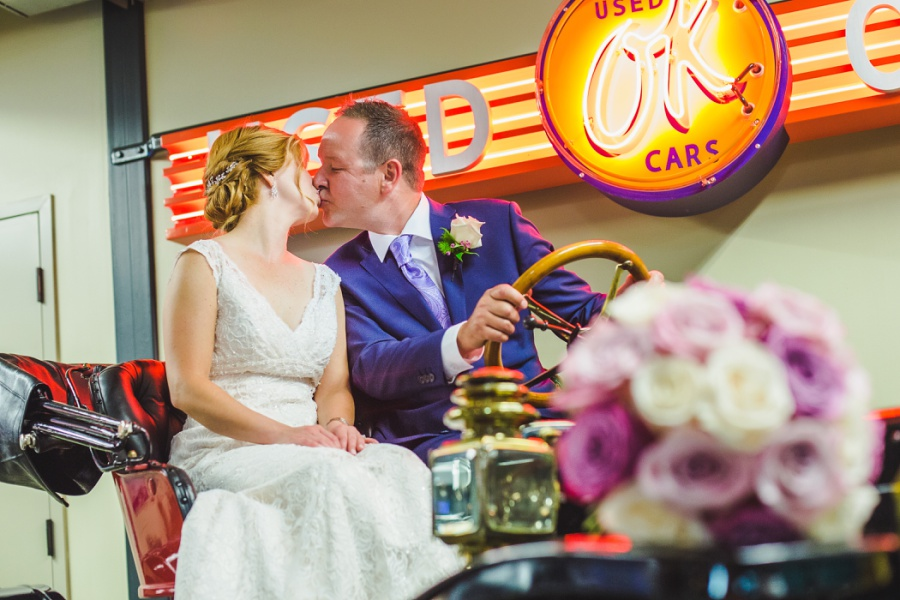 st. martin's church heritage park wedding calgary bride groom kiss gasoline alley