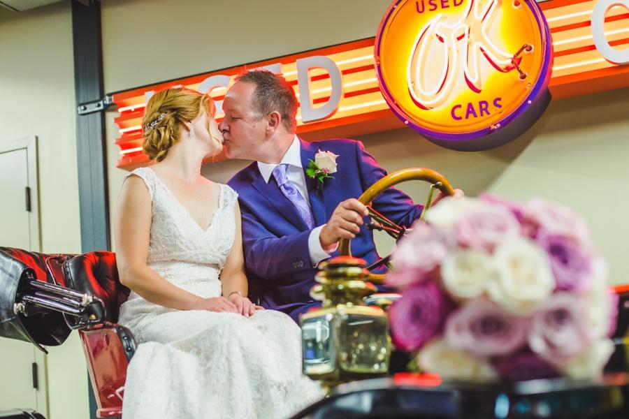 st. martin's church heritage park wedding calgary bride groom kiss gasoline alley