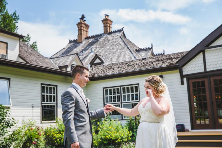 calgary ranche restaurant wedding photographer bride crying first look