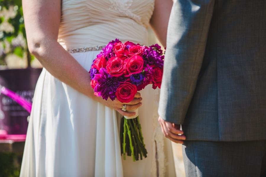 calgary ranche restaurant wedding photographer pink purple flowers funky petals