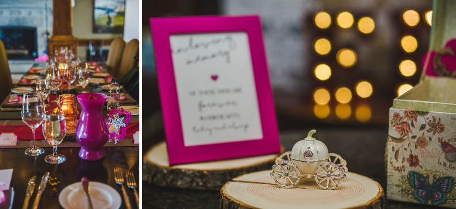 calgary ranche restaurant wedding photographer pink reception decoration