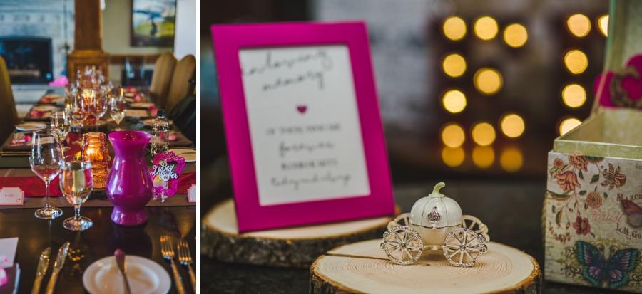 calgary ranche restaurant wedding photographer pink reception decoration