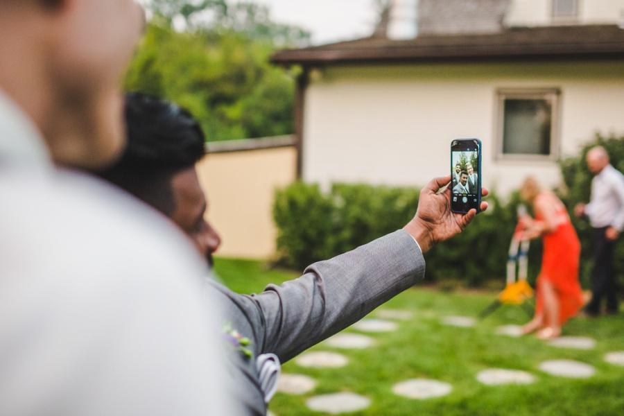 calgary ranche restaurant wedding photographer iphone selfie