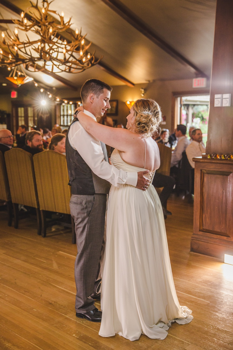 calgary ranche restaurant wedding photographer first dance bride groom