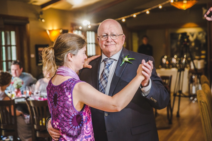 calgary ranche restaurant wedding photographer father of bride dance