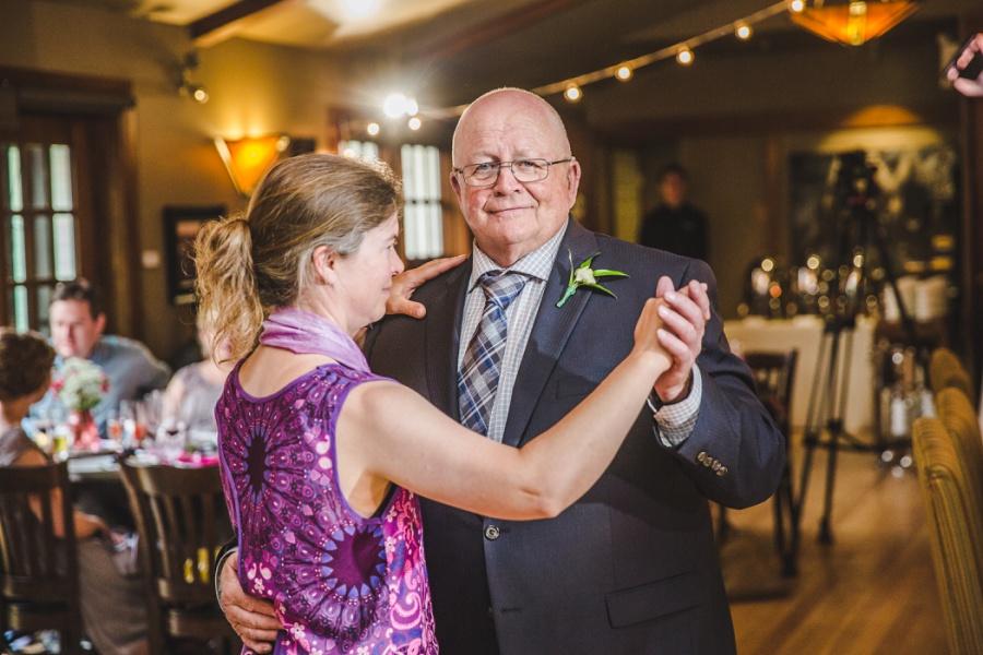 calgary ranche restaurant wedding photographer father of bride dance