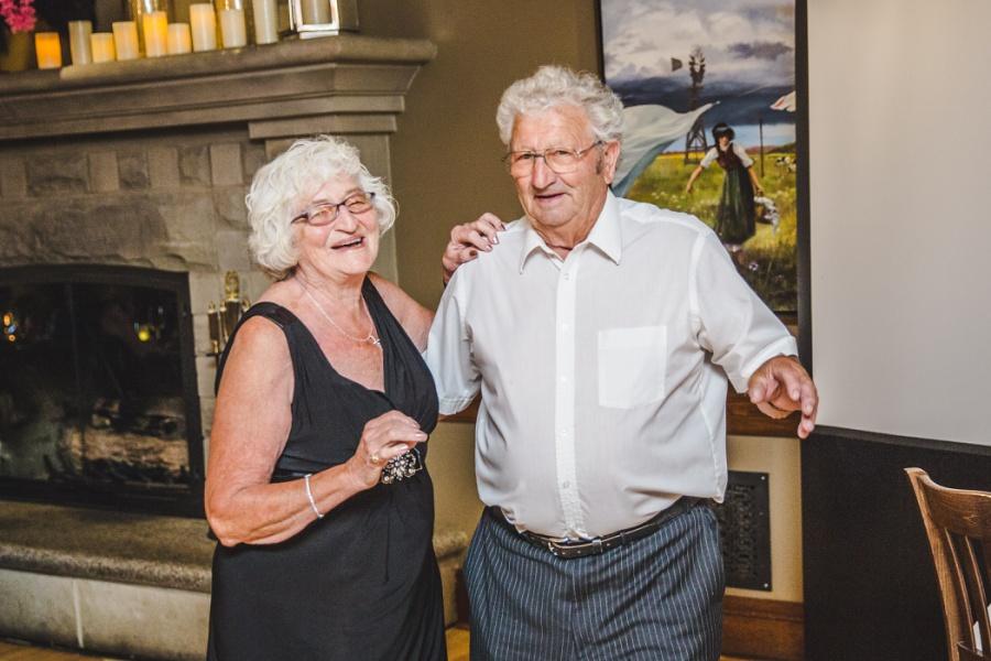 calgary ranche restaurant wedding photographer cute elderly couple dancing