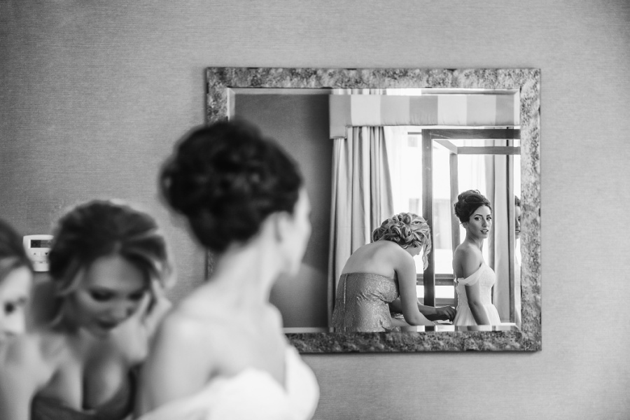 bride getting ready calgary wedding hotel
