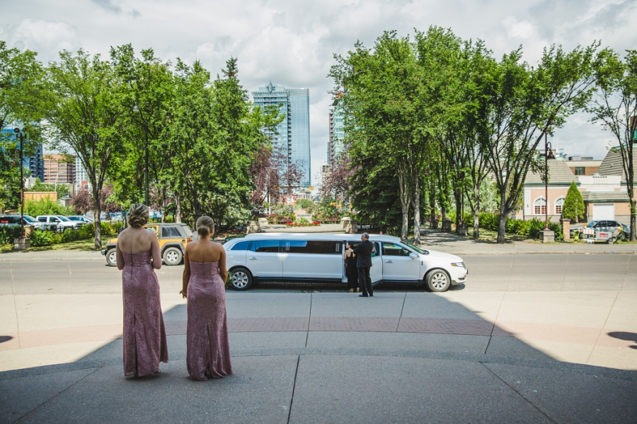calgary wedding limousine arriving to ceremony