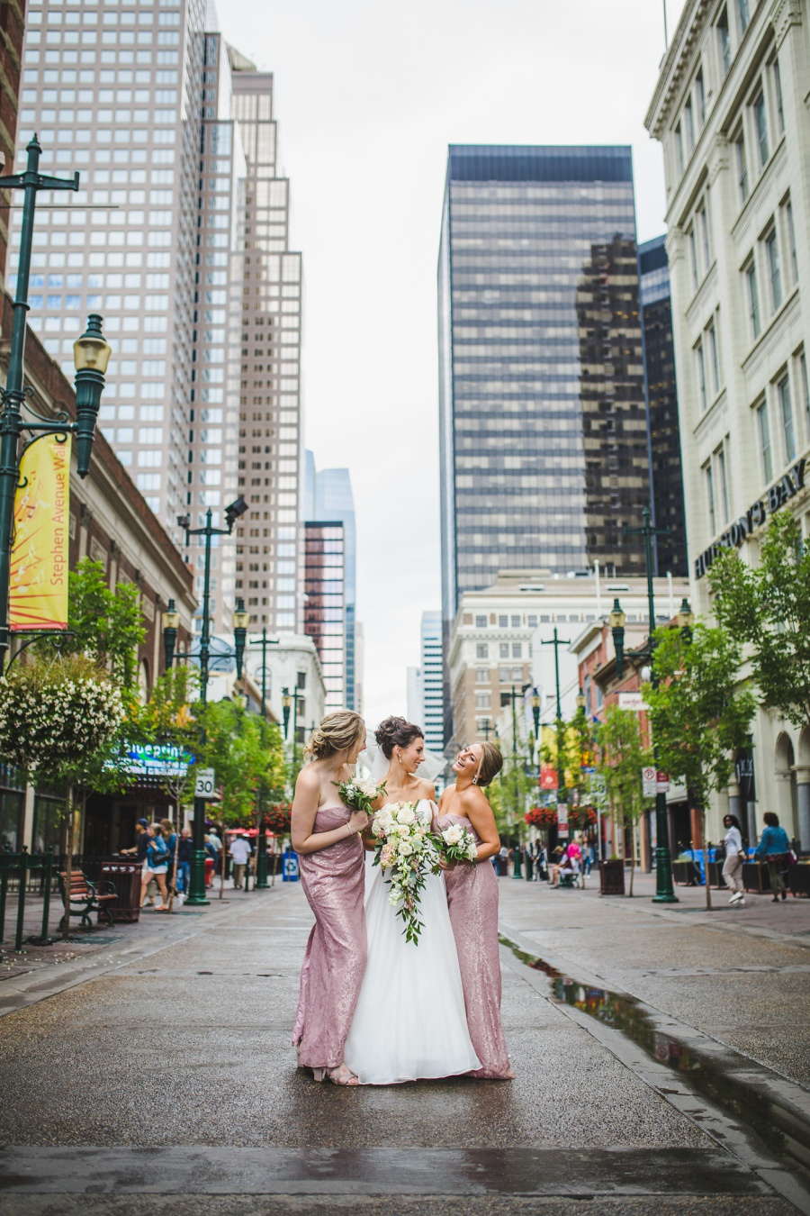 st. mary's cathedral calgary wedding bridesmaids pink dress stephen ave downtown