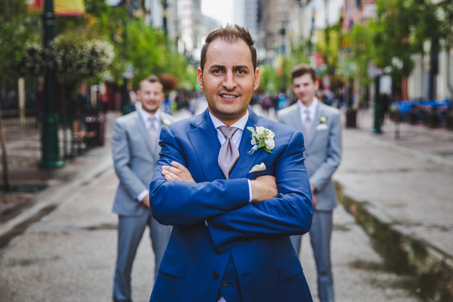 st. mary's cathedral calgary wedding groom blue tux blush tie