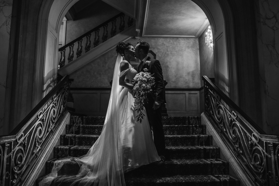calgary fairmont palliser grand staircase bride groom wedding