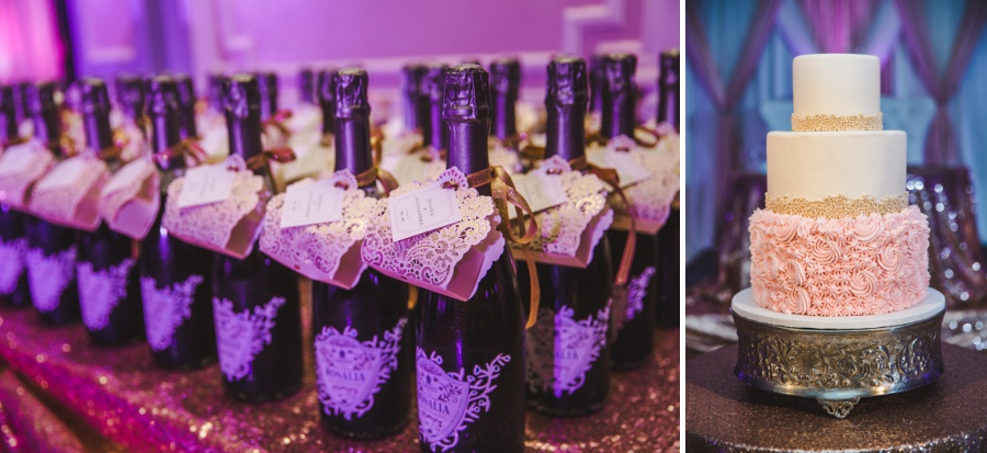 fairmont palliser calgary wedding pink purple decor wedding cake