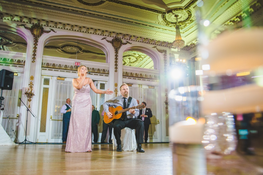 fairmont palliser calgary wedding bridesmaid guitar performance