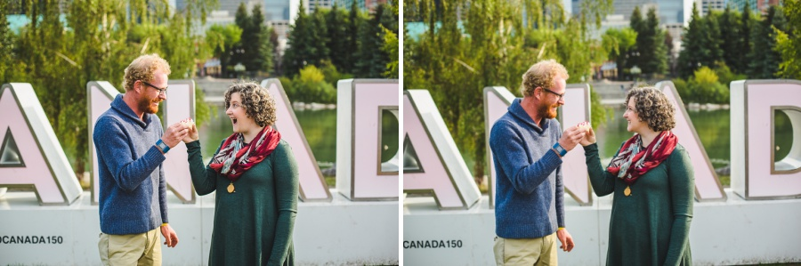 calgary engagement photos with dogs downtown princes island park autumn fall corgi
