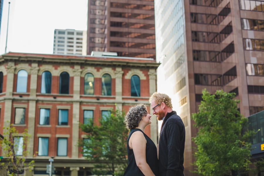 calgary engagement photos with dogs downtown autumn fall corgi