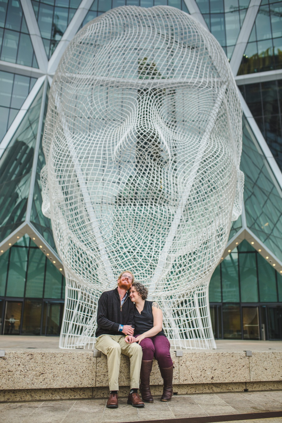 calgary engagement photos with dogs downtown autumn fall corgi wonderland the bow