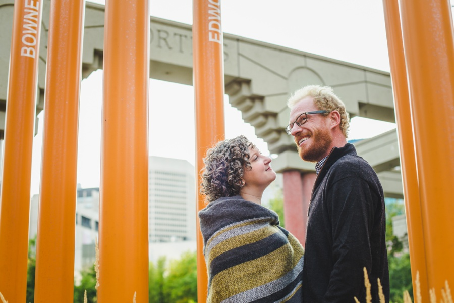 calgary engagement photos with dogs downtown autumn fall corgi olympic plaza