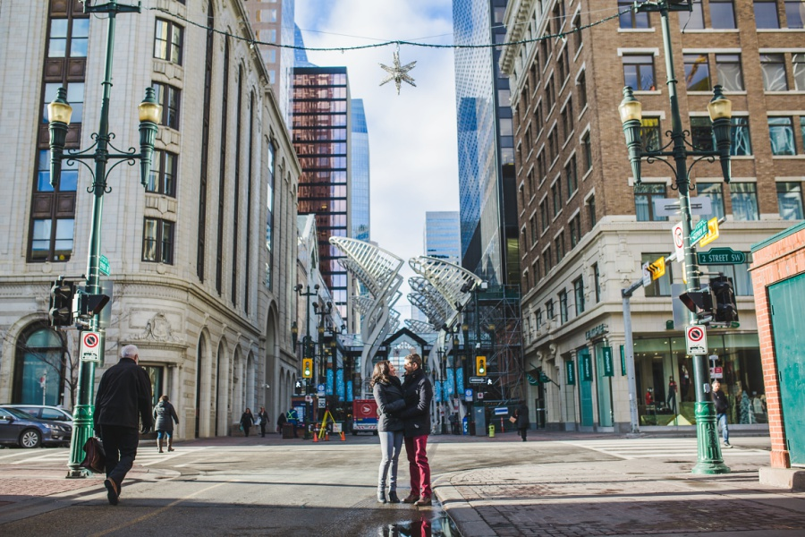calgary stephen ave engagement session photos winter city trees