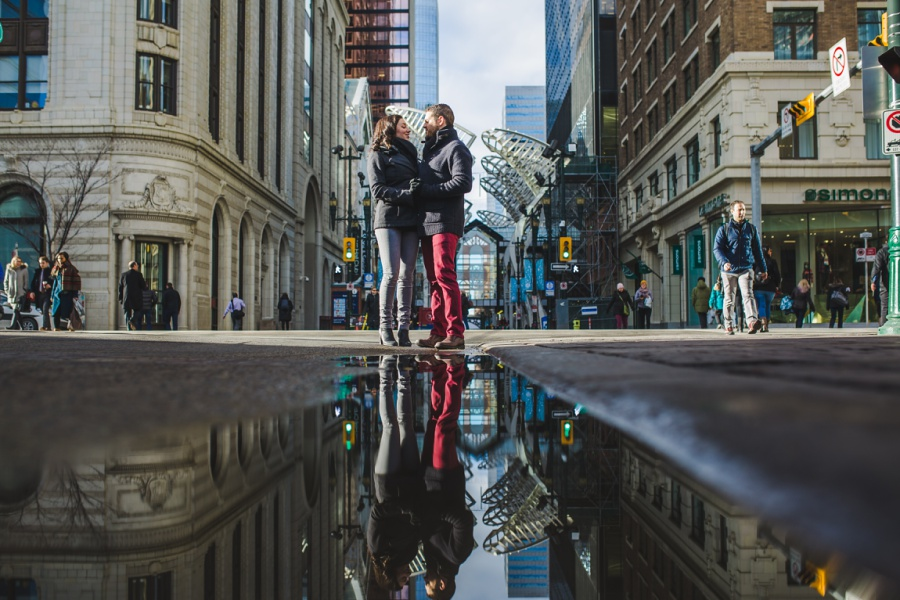 calgary stephen ave engagement session photos winter reflection water