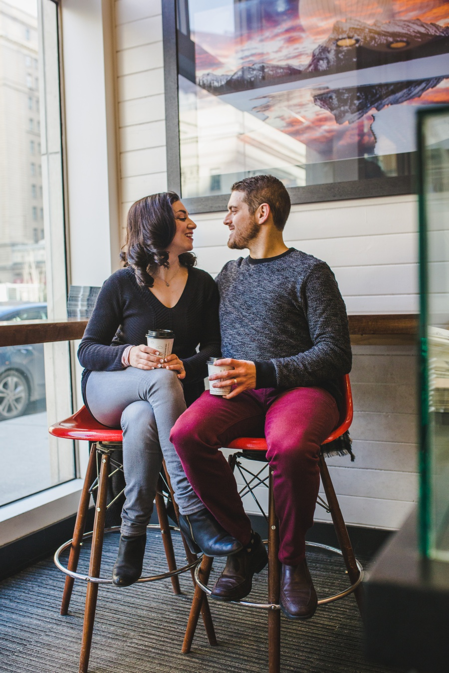 calgary stephen ave engagement session photos winter coffee date