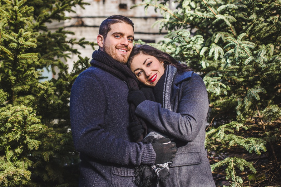 calgary stephen ave engagement session photos winter pine trees