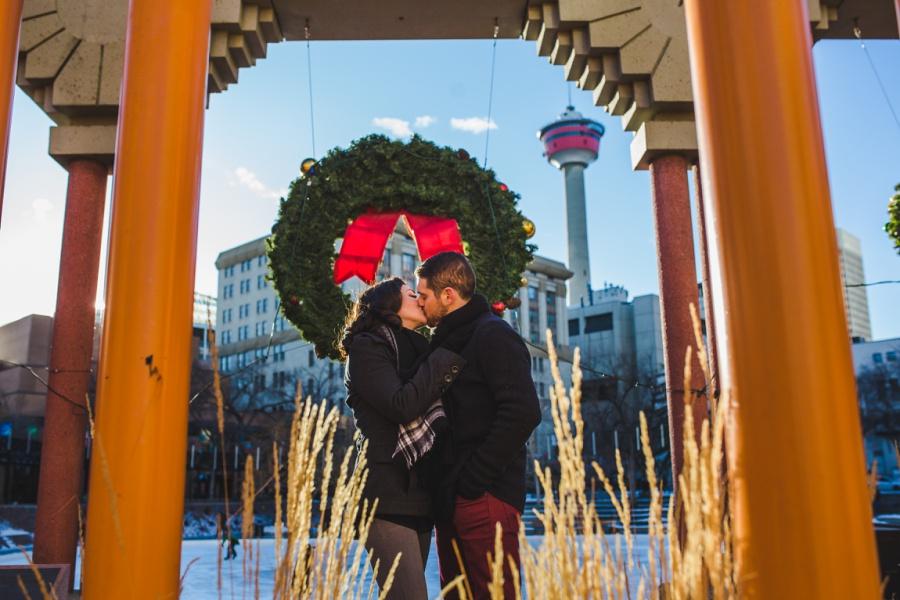 calgary olympic plaza christmas wreath engagement photos session