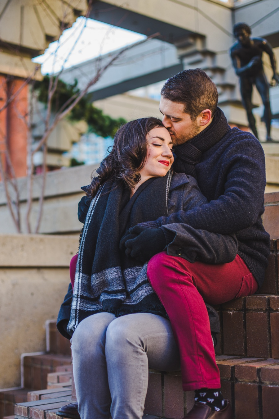 calgary olympic plaza engagement photos session brick stairs