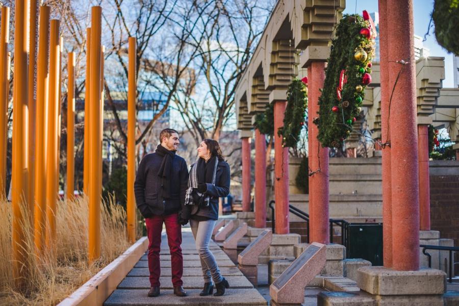 calgary olympic plaza engagement photos session christmas wreath