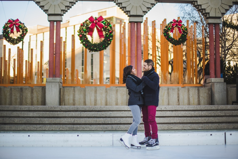 calgary olympic plaza engagement photos session ice skating christmas wreath