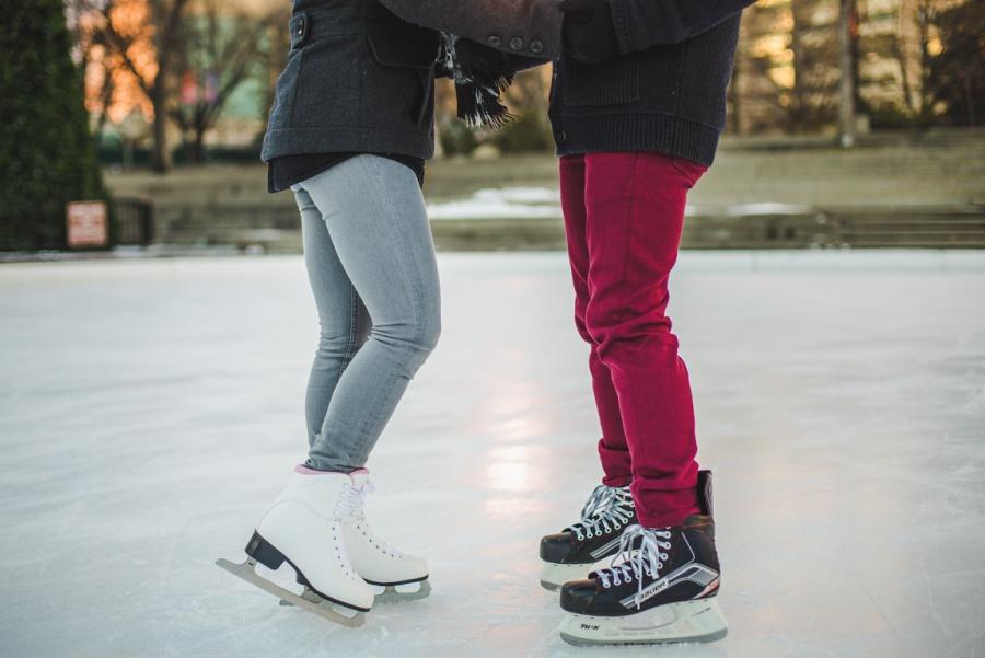 calgary olympic plaza engagement photos session ice skating shoes