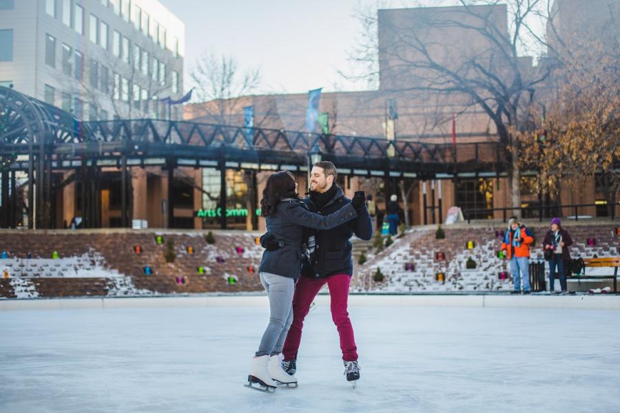 calgary olympic plaza engagement photos session ice skating