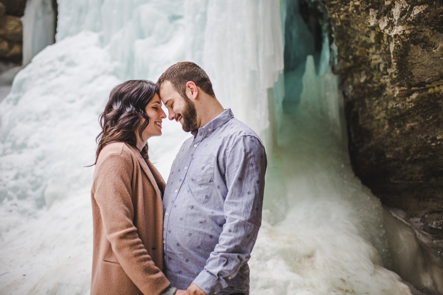 alberta troll falls engagement photos frozen waterfall lake