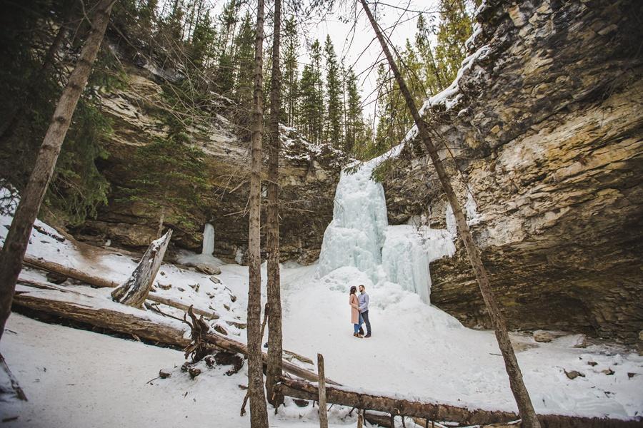 alberta troll falls engagement photos frozen waterfall lake