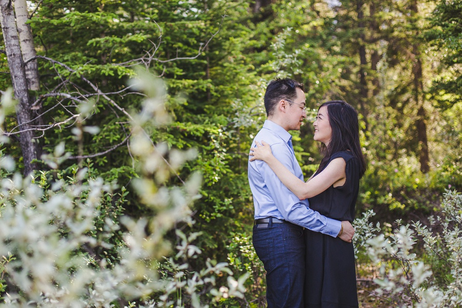 canmore engine bridge engagement session spring pine tree