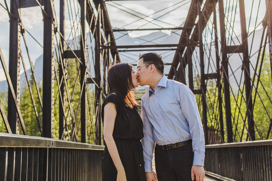 canmore engine bridge engagement session summer photos