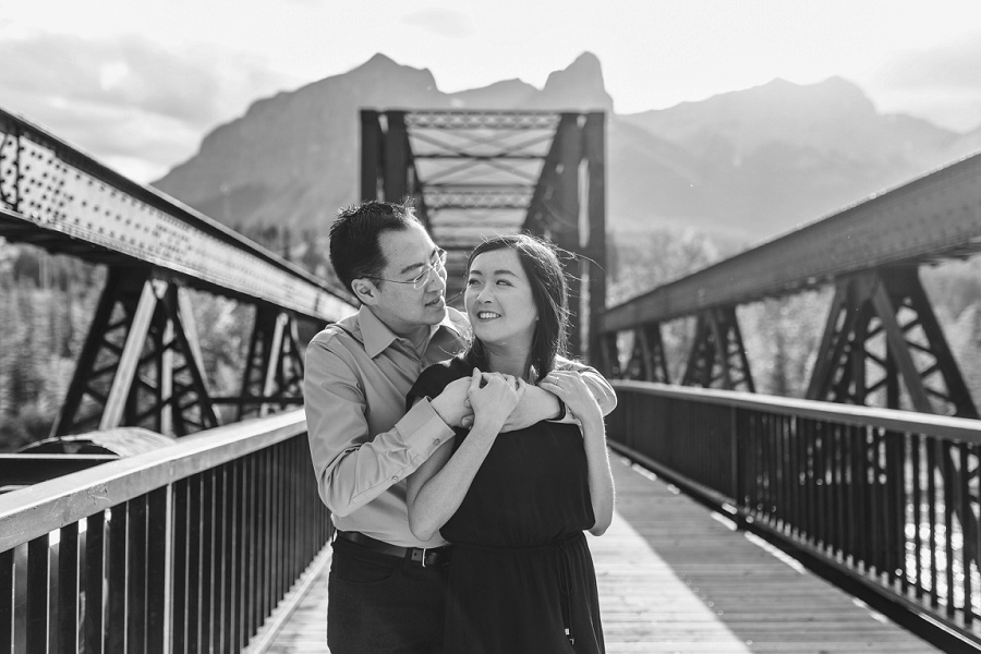 canmore engine bridge engagement session black and white image