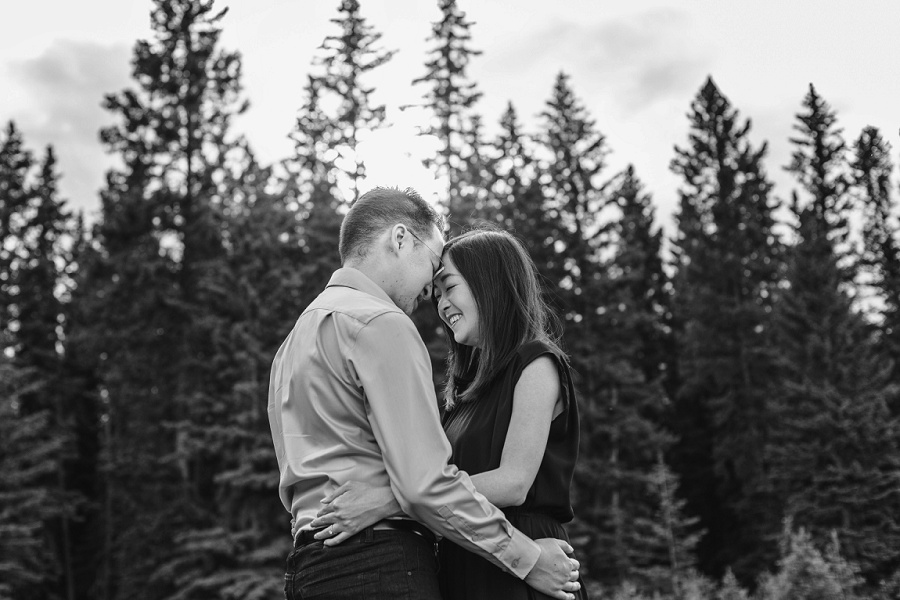 canmore quarry lake park engagement photos bride laughing