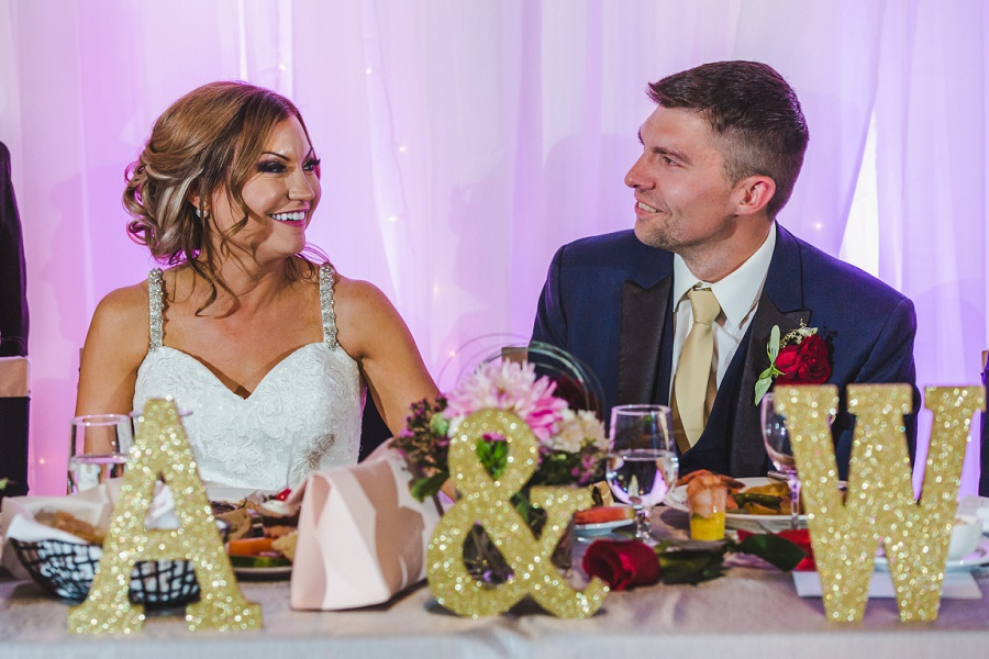 calgary summer wedding reception decoration sparkly letters
