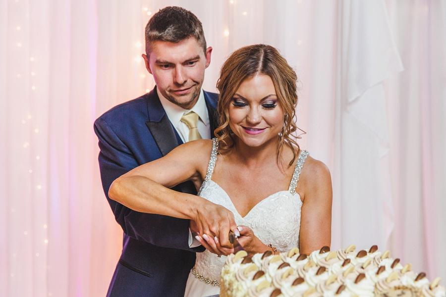 calgary summer wedding reception shots wedding cake cutting